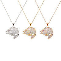 Pendant Necklaces Women's Fine 2014 Fashion Designer Carp Necklace,In Genuine 925 Sterling Silver,with Brilliant Stones,3 Color Available:Gold,Rose Gold,Silver