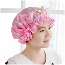 Wholesale Home Korean high end fashion to increase thickening shampoo cap multicolor printing double waterproof shower cap K2592
