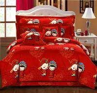100% Cotton Housing Woven Wholesale - DHL Free Ship China Wedding 7pcs AB Pattem Cotton Reactive Twill Print Bedding Set Quilt Pillow Cover Sheet