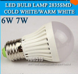 10pcs lot LED bulb lamp High brightness E27 6W 7W 2835SMD Cold white warm white AC220V 230V 240V Free shipping