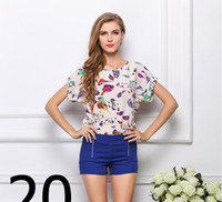 Short Sleeve Chiffon  Summer Women printing short sleeve Chiffon Blouses Bat sleeve loose bottoming 19 colors Size S-XXL