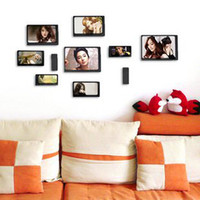 Yes 10 Boxes Red 2014 HOT wood photo wall adornment picture frame combination 1set(10 different frames)free shipping