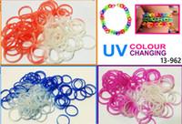 Cheap Rainbow LOOM Bag kit UV bands Hot Bracelet Loom 3 Color Change Magic Colorful Loom DIY Educational toys 1lot 1000bag each with Bar code