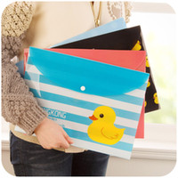 Wholesale Home Korean cute yellow duckling HK horizontal version of paper bags A4 document pouch stationery kits K2830