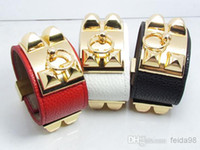 Cuff pyramid studs - Vintage Metal Women Studs Pyramid Faux Leather Loop Charm Bangles Bracelet Cuffs