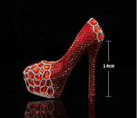 Pumps ankle strap pumps photo - Luxurious Faddish Rhinestone Wedding Shoes Red High heeled Crystal Bride Shoes Girls Photo Shoes Dress Party Shoes