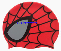 Wholesale COOL Lovely Silicone Cartoon Spiderman Water Sport Swimming Swim Caps Kids