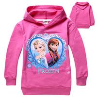 Girl Spring / Autumn Hooded 3 Colors 2014 Frozen Baby Girls 2-8Yrs Elsa Anna Princess Hoodie Long Sleeve Terry Hooded Jumper Cartoon Hoodies Outerwear Kids Clothing