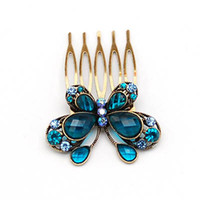 Hairpins Fashion Hairwear 1pcs Free Shipping Rhinestone Butterfly Hair Comb For Kids Wholesale Child Accessory H069