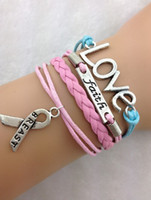 Charm Bracelets Fashion Jewelry Findings 3pcs faith Love and Breast Cancer Awareness Ribbon Charm Bracelet in Antique Silver - Suede and 1811 Min order 10$