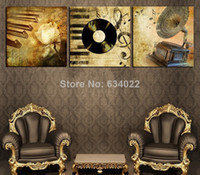 Abstract   3 Panels vintage modern music Picture Living Room Contemporary Painting Decorative Canvas Paint Print Huge art wall decor xc06
