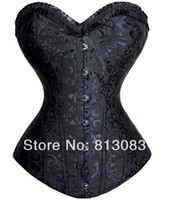Women Bodysuit Bustiers & Corsets Free shipping Full Steel Boned Lace up Back Sexy Women Corset Sexy Lingerie Top Floral Bustier with G-string 2 Colors