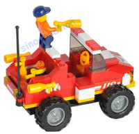 Building Plastic Blocks Sluban 118pcs set Fire Toy Series Children's DIY Mini Rescue Truck Educational Blocks Toy Set B0217, Free Shipping