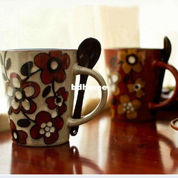 Wholesale ml Elegant Hand painted Stoneware Porcelain Coffee Mug Ceramic Milk Cup with Spoon Premiums Gift SH112