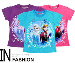 Wholesale ready send out new children clothing girls frozen elsa and anna short sleeved cotton t shirt top colors choose Melee