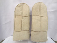 Wholesale 2014 EMS men women winter shearling wool hand sewn sheep leather mitten gloves GY87