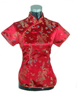 Short Sleeve animal stands - fashion cheongsam top traditional Chinese Women s Silk Satin Top china dragon and phoenix blouse Chinese Shirt Color