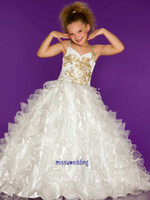 Reference Images Girl  ruffles and rhinestones  Enchanting ruffled beaded ivory gold organza little girl pageant dresses straps pleated rhinestones swrils pattern sparking girl party dress