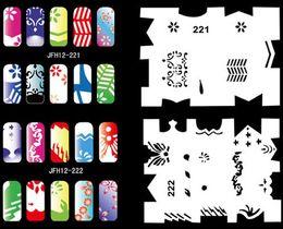 Wholesale Beautiful Design Airbrush Nail Art Paint Stencil kit designs BN12