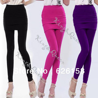 Foot Cover Women Nylon 2013 New Women Nylon Full Footless Legging Stretch Seamless Long Pants Skirt Black Purple Rose Red Drop shipping 8069