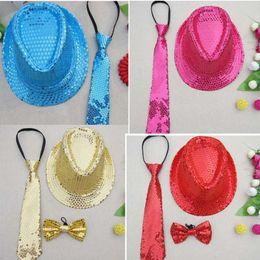 Wholesale Adjustable Sequins Kids Boy Necktie Tie Necktie Bowtie Hat Party Show Dance Set
