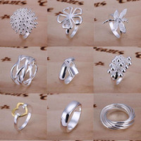 Wholesale Hot sale Good Selling Sterling Silver Multi Styles Charms Rings Vintage Rings Size Mixed