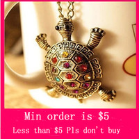 Wholesale Min Order Mix Jewelry order Vintage Little Turtle Inlaid Diamante Sweater Chain Necklace N0357