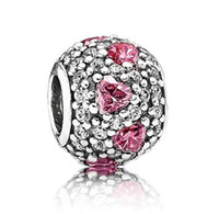Wholesale Pink Heart Cubic Zirconia Crystal Paved Pandora Style Round Sterling Silver European Beads Charm