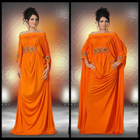 Reference Images Off-the-Shoulder Chiffon 2014 New Design Dubai Kaftan Abaya Plus Size Flowing A-Line Off The Shoulder Orange Formal Evening Dress Vestidos De Fiesta