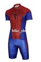 Short bib fabric - Red Spidey Men Cycling Jersey Bib Short Tight fitting High Elastic Polyester Lycra fabric Bicycle Clothing on Sale