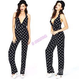New Fashion Women Romper Ladies Sexy Halter Deep V-neck Zip Back Backless Black And White Polka Dots Jumpsuit 19785