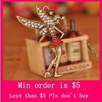 Pendant Necklaces beautiful peter - Min Order Mix Jewelry order Retro Vintage Peter Pan Fairy W Diamante Beautiful Pendant Necklace Chain N0005