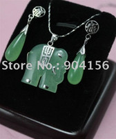 Jewelry Sets Fine,Fashion Jade Noblest green jade fortune elephant pendant earring Free Shipping