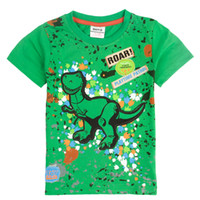 Wholesale Boy shirts stock nova brand animal dinosaur applique patches boys tshirts children s clothing green cheap summer top baby C3533