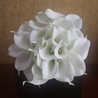 Wholesale Artificial flowers inch tall Mini Real touch flowers white calla lilies bouquets latex calla lily bouquets for wedding