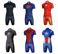 Wholesale 2014 Newest Hero Cycling Jersey Sets Superman Iron Man Black Spidey Red Spidey Captain America BATMAN Bicycle Jersey Sets for Sale