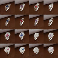 Band Rings African Unisex Hot sale Mixed Styles 50pcs lot 925 Silver Mark Dazzling CZ Zircon Rings Women's Diamond Rings Mixed