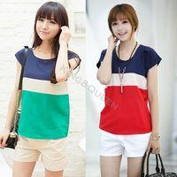 Women Polyester Polo 2014 Hot Summer Women Clothing Chiffon Blouse Short Sleeve Shirt Loose Tops Stripe XL XXL 4 Sizes SV000148#006
