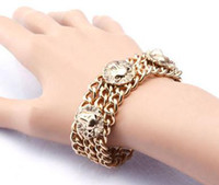 Link, Chain avatar sales - Crude Chain Bracelets Gold Color Lion Avatar Coin Style Hot Sales B17