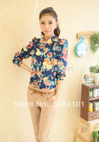 Women Rayon Appliques NEW Women turn Down collar button chiffon Shirt top lady Casual floral Flower full Sleeve shirt Tops