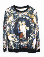 Wholesale Factory Top Quality Spring Autumn Women Lady Floral Saints Mary Paintings Sweatshirt Casual Street Wear Tees Long Sleeve Tshirt
