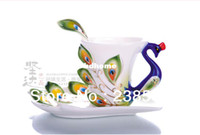 Wholesale Creative porcelain enamel peacock coffee cup and saucer Set Three piece ceramic coffee cup and saucer and spoon mugs
