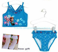 Wholesale 9 off The new summer FROZEN ELSA ANNA baby clothes fission swimsuit of the girls gift prirs socks drop shipping hot sale set BJ