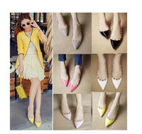 Wholesale Fashion New Korean Colors Women Pointed Toe Flat Shoes Ladies Fashion Rivets Studded Ballet Flats Female Summer Shoes
