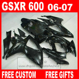 Wholesale 7 gifts bodywork set for SUZUKI Injection molding fairings GSXR all glossy black fairing kit GSXR600 K6 GSX R600 Hy11