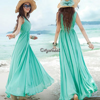 Casual Dresses V_Neck A Line New Details About Vogue Summer Beach Boho Bohemian Solid Sunderss Crewneck Maxi Long Swing Dress 2 Colors #04 SV002026