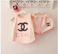 Wholesale New Summer Children s Clothing Boy Girl Baby c Big Brands Printed Letter Vest T Shirt Shorts Pants kids Two Set