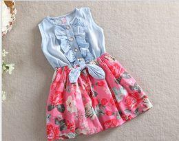 Wholesale Korean Style Children Leisure Sleeveless Cowboy Dress Girs Cute Ruffle Denim Dresses Kids Lovely Pleated Printing Vest Dressy GX340