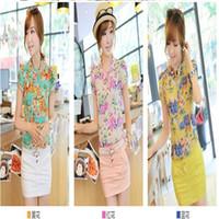 Lapel Neck Petal Sleeve Short Sleeve Nice floral print chiffon blouse women new casual short-sleeve slim ladies shirt blouse top 3 colors M L XL XXL