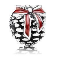 Wholesale Christmas Series Pandora Style Sterling Silver Red Enamel Pine Code European Beads Charm